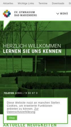 Vorschau der mobilen Webseite evgbm.net, Evangelisches Gymnasium Bad Marienberg