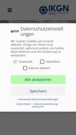 Vorschau der mobilen Webseite www.ikg-nuernberg.de, Israelitische Kultusgemeinde Nürnberg