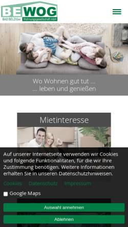Vorschau der mobilen Webseite www.bewog-belzig.de, Belziger Wohnungsgesellschaft mbH