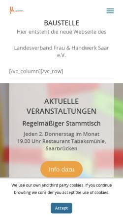 Vorschau der mobilen Webseite www.frau-und-handwerk.de, Landesverband Frau und Handwerk e.V.