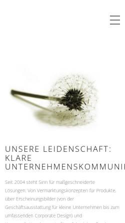 Vorschau der mobilen Webseite www.sinn-kommunikation.de, Sinn - Agentur für Kommunikation
