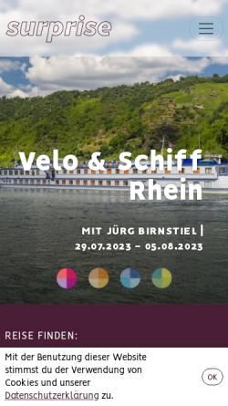 Vorschau der mobilen Webseite www.surprise-reisen.ch, Surprise Reisen