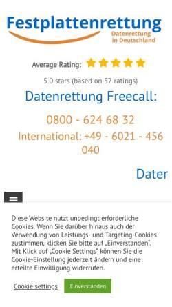 Vorschau der mobilen Webseite festplattenrettung.de, Maintec Datenrettung und Forensik Thomas Knecht