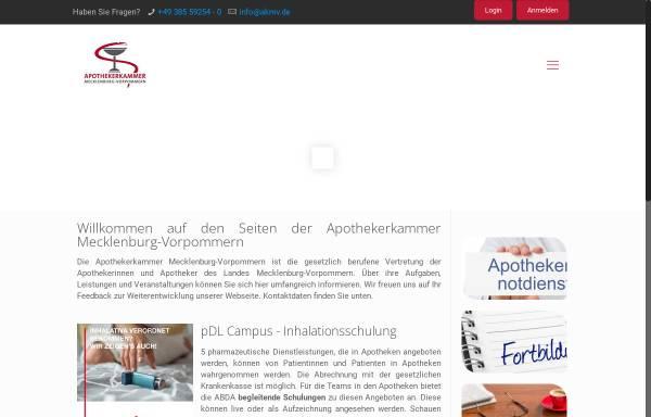 Vorschau von www.akmv.de, Apothekerkammer Mecklenburg-Vorpommern