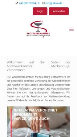 Vorschau der mobilen Webseite www.akmv.de, Apothekerkammer Mecklenburg-Vorpommern