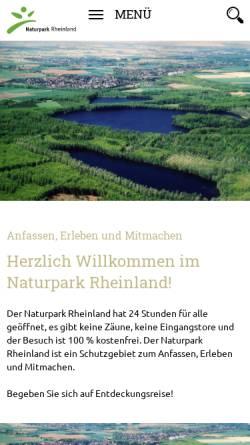 Vorschau der mobilen Webseite www.naturpark-rheinland.de, Naturpark Rheinland