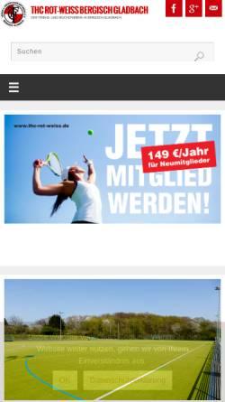 Vorschau der mobilen Webseite www.thc-rot-weiss.de, Tennis- und Hockey-Club Rot-Weiß Bergisch Gladbach