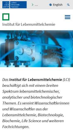 Vorschau der mobilen Webseite www.lci.uni-hannover.de, Institut für Lebensmittelchemie