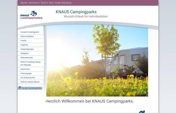 Vorschau von www.knauscamp.de, Knaus Campingparks- Helmut Knaus KG