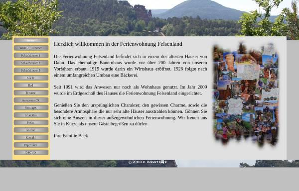 Vorschau von www.fewo-felsenland.de, Ferienwohnung Felsenland