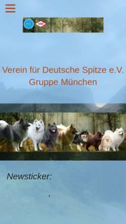 Vorschau der mobilen Webseite www.spitze-muenchen.de, Gruppe München im Verein für Deutsche Spitze e.V.