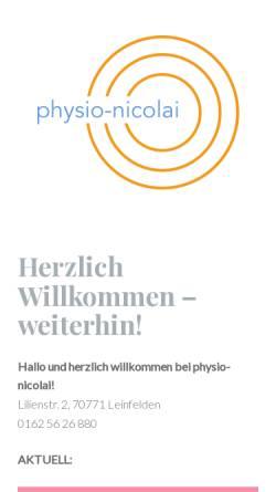 Vorschau der mobilen Webseite www.physio-nicolai.de, Physiotherapie und Osteopathie für Pferde