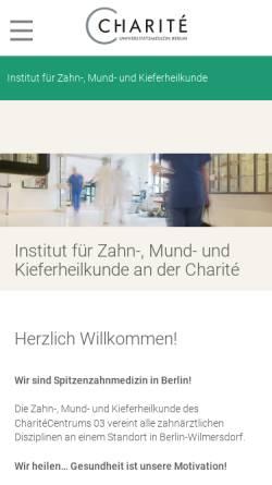 Vorschau der mobilen Webseite zahnmedizin.charite.de, Charité Universitätsmedizin Berlin - Institut für Zahn-, Mund- und Kieferheilkunde
