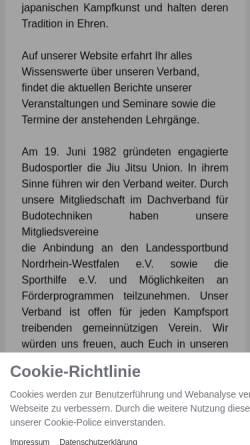 Vorschau der mobilen Webseite www.jju-nrw.de, Jiu-Jitsu Union Nordrhein-Westfalen e.V.