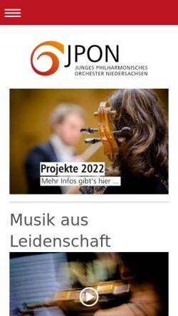 Vorschau der mobilen Webseite www.jpon.de, Hannover, Junges Philharmonisches Orchester Niedersachsen