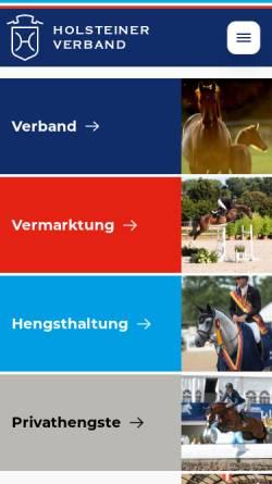 Vorschau der mobilen Webseite www.holsteiner-verband.de, Verband der Züchter des Holsteiner Pferdes