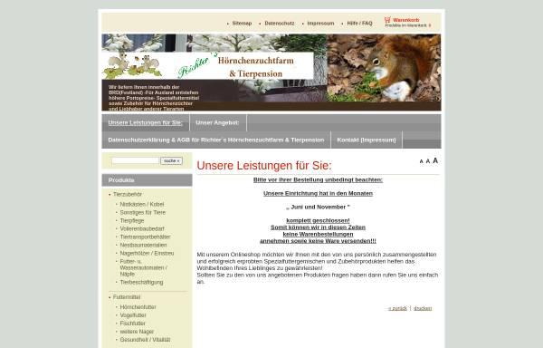 Vorschau von www.zoo-tierfarm.de, Richter's Hörnchenzuchtfarm & Tierpension, Werner Richter