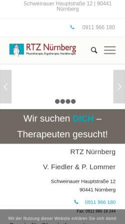 Vorschau der mobilen Webseite www.rtz-nuernberg.de, Rheuma Therapie Zentrum
