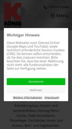 Vorschau der mobilen Webseite www.koenig-diamanttechnik.de, König Diamanttechnik