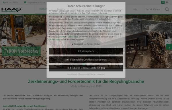 Vorschau von haas-recycling.de, HAAS Holzzerkleinerungs- und Fördertechnik GmbH