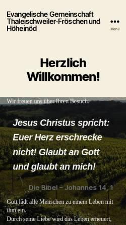 Vorschau der mobilen Webseite www.egth.de, Evangelische Gemeinschaft Thaleischweiler-Fröschen & Höheinöd