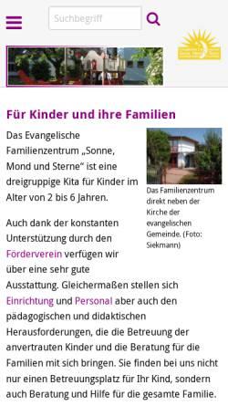 Vorschau der mobilen Webseite www.kita-wuerselen.de, Kindertagesstätte Sonne, Mond & Sterne