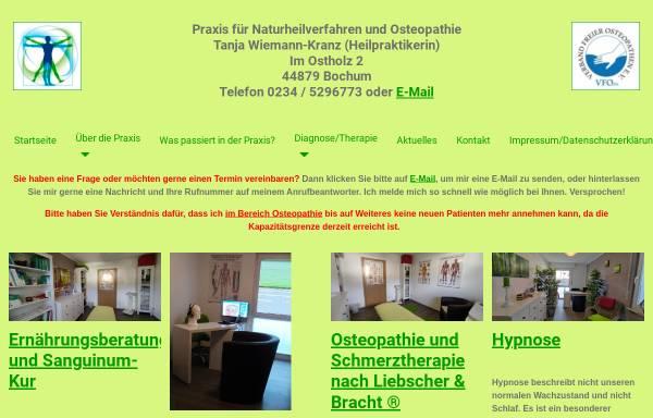 Vorschau von www.naturheilpraxis-bochum.de, Praxis für Naturheilverfahren und Osteopathie, Tanja Wiemann-Kranz