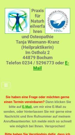 Vorschau der mobilen Webseite www.naturheilpraxis-bochum.de, Praxis für Naturheilverfahren und Osteopathie, Tanja Wiemann-Kranz