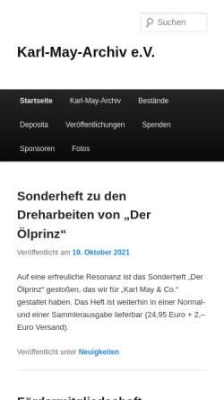 Vorschau der mobilen Webseite www.karl-may-archiv.de, Karl-May-Archiv e.V.