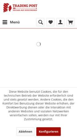 Vorschau der mobilen Webseite www.tradingpost.de, Tradingpost - Karl-May-Bücher - Karl-May-Onlineshop