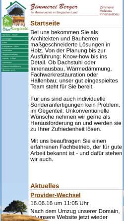 Vorschau der mobilen Webseite www.zimmereiberger.de, Zimmerei Rainer Berger