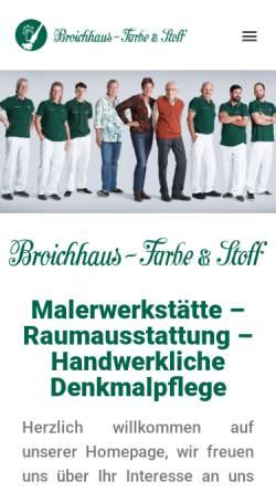Vorschau der mobilen Webseite www.broichhaus.de, Broichhaus - Farben & Stoffe