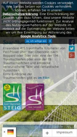 Vorschau der mobilen Webseite www.saar-hunsrueck-steig.de, Saar-Hunsrück-Steig