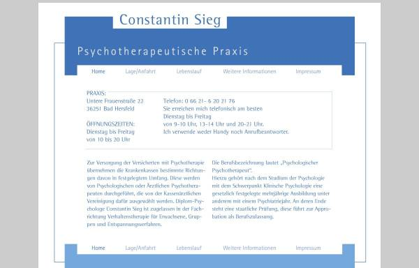 Vorschau von www.constantin-sieg.de, Psychotherapeutische Praxis Constantin Sieg