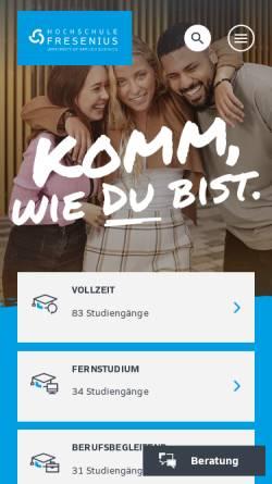 Vorschau der mobilen Webseite www.hs-fresenius.de, Hochschule Fresenius