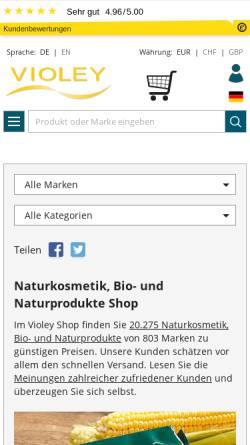 Vorschau der mobilen Webseite www.violey.com, Violey GmbH