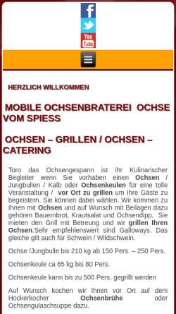 Vorschau der mobilen Webseite www.ochsengespann.de, Toro das Ochsengespann und Spanferkel-Paradies Inh. Carola Winkler