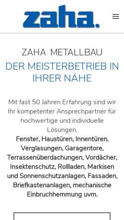 Vorschau der mobilen Webseite www.zaha.de, ZAHA Metallbau GmbH