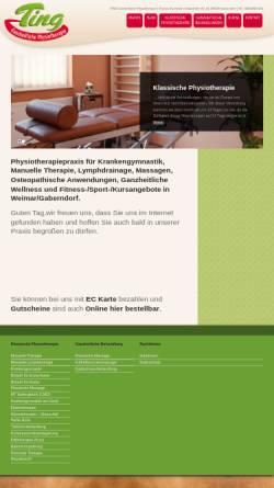 Vorschau der mobilen Webseite www.physio-ting.de, Ting