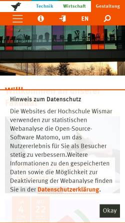 Vorschau der mobilen Webseite www.fg.hs-wismar.de, Fachbereich Architektur