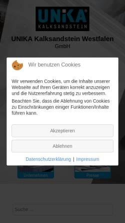 Vorschau der mobilen Webseite www.kspe.de, UNIKA Kalksandstein Westfalen GmbH