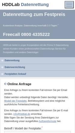 Vorschau der mobilen Webseite www.hddlab.de, HDDLab Datenrettung