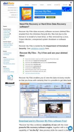 Vorschau der mobilen Webseite www.recovermyfiles.com, Recover My Files - Software