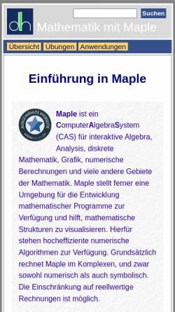 Vorschau der mobilen Webseite henked.de, Einführung in Maple