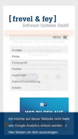 Vorschau der mobilen Webseite www.frevelundfey.de, Frevel & fey Software Systeme GmbH