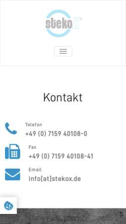 Vorschau der mobilen Webseite www.stekox.com, StekoX GmbH