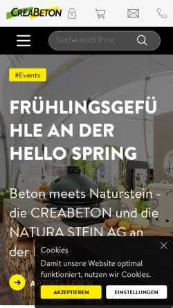 Vorschau der mobilen Webseite www.creabeton-materiaux.ch, Creabeton Materiaux AG