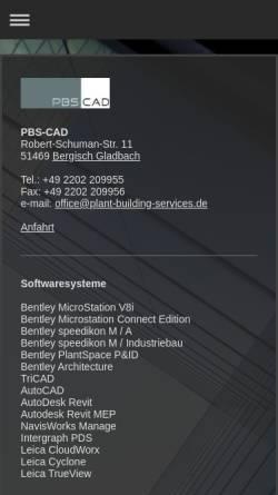 Vorschau der mobilen Webseite www.plant-building-services.de, PBS-CAD GbR, Matthias Schulz, Janine Schulz-Haselhoff