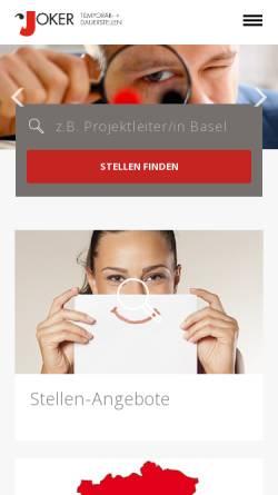 Vorschau der mobilen Webseite www.jokerpersonal.ch, Joker Personal AG