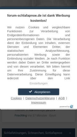 Vorschau der mobilen Webseite forum-schlafapnoe.de, Forum Schlafapnoe und Schnarchen